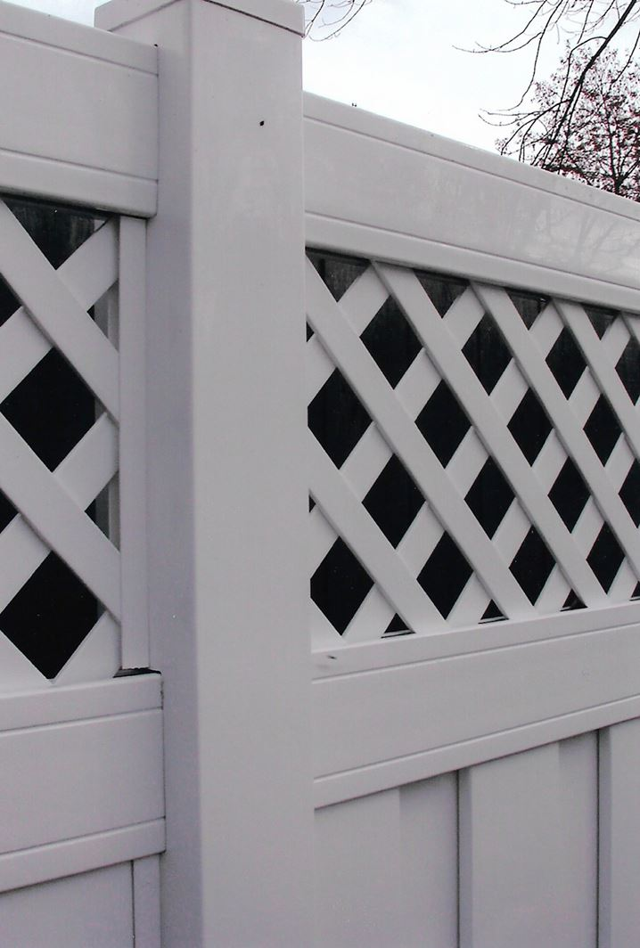 Close-up of white vinyl fence